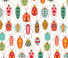 Happy Beetles fabric by katerhees on Spoonflower - custom fabric loving this spoonflower fabric