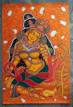 Kerala Mural Painting, Krishna Painting, Indian Art Paintings, Madhubani Painting, Shiva Art, Hindu Art, Phad Painting, Tulip Drawing, Mural Art