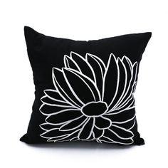 Black White Vankúš Cover, čierny Obliečky Biely kvet výšivky, Dekoratívne Vankúš Floral Couch Vankúš Flower vankúš, posteľná bielizeň s kvetinami