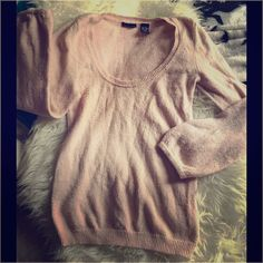 Sz.M/L Light Pink sweater Very pre loved and the cloth is balling up a bit but this is still pretty especially w/ a white collared t...Sz.M/L Light Pink sweater. Can fit a Med-L stretches. Moda International Sweaters Crew & Scoop Necks