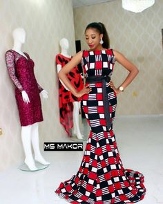 """395 Likes, 9 Comments - MsMakor (@msmakor) on Instagram: """"#fittings How gorgeous is this #msmakor dress!❤️❤️ available in different prints...call/whatsapp…"""""""