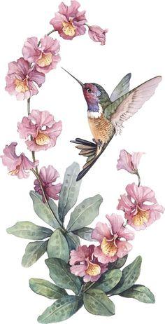 Pink Wallpaper Iphone, Flower Wallpaper, Vintage Birds, Vintage Flowers, Sparrow Tattoo Design, Paper Collage Art, Hummingbird Art, Decoupage Vintage, Aesthetic Painting