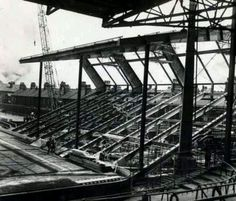 The old Kemlyn Road stand being built Liverpool Stadium, Liverpool Fans, Liverpool Football Club, Hillsborough Disaster, This Is Anfield, Liverpool History, European Cup, You'll Never Walk Alone, Everton Fc