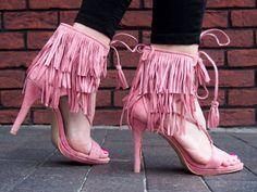Sandały na szpilce z frędzlami  BOHO 8125  RÓŻOWY