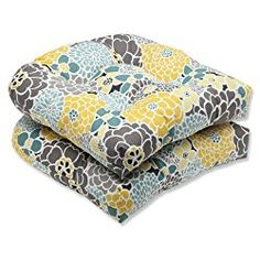 Pillow Perfect Outdoor Full Bloom Wicker Seat Cushion, Set of 2