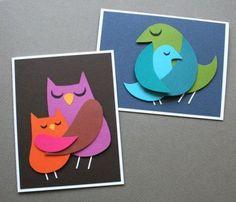 Птички-мамочки - объемная аппликация открытка 1