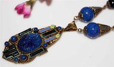 Amazing ANTIQUE ART DECO LAPIS Lazuli ENAMEL ONYX LAVALIERE NECKLACE-Antique WOW