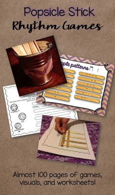 Popsicle stick rhythm games--almost 100 pages of games, worksheets, and visuals for extending rhythmic understanding!