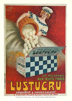 FOOD, PASTA - Vintage French color advertising poster - girl, eggs, red 1920s. $9.00, via Etsy.