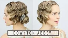 """By Kayley Melissa. """"Here's an easy way to learn how to finger wave with a curling iron + get a great hairstyle for your Halloween costume! Bob Updo Hairstyles, Updo Hairstyles Tutorials, Vintage Hairstyles, Wedding Hairstyles, Hairstyles Videos, Hair Tutorials, Flapper Hair, Gatsby Hair, Flapper Girl Costumes"""