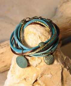 Wrap bracelet Turquoise & Brown Copper - HanneHaves