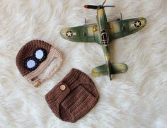 Baby Aviator Hat and Diaper Cover, Newborn and Baby Photo Prop, Pilot Outfit.