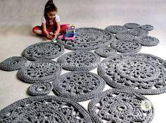 Grey cotton cord round rug crochet rug crochet carpet