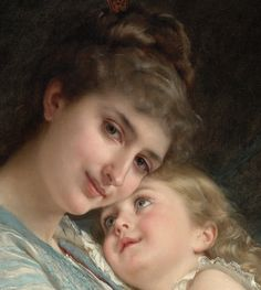 Mother and child By Emile munier Amazing Paintings, Classic Paintings, Amazing Art, Victorian Paintings, Victorian Art, Mother And Child Painting, Art Du Monde, Munier, Mother Pictures