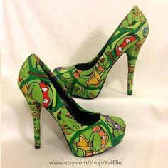 Teenage Mutant Ninja Turtle Heels by KalElle on Etsy