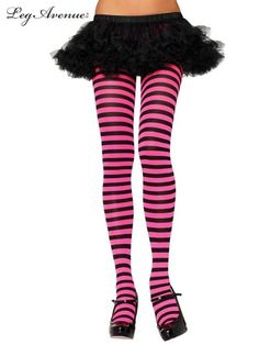 Leg Avenue Pink Black striped Cheshire cat costume tights stockings nylon 7100