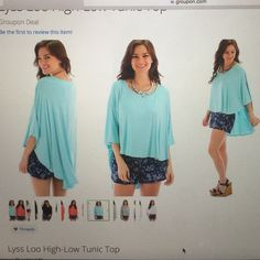 Light blue high low top Bright blue high low tunic top. Size large. Draped sleeves. Oversized fit. Looks great with shorts or jeans! Can be dressed up or down! Worn twice, just have too many tops like this. The color is absolutely beautiful! 95% rayon, 5% spandex. Bust measure 39.5-40 inches. Waist measure 32-32.5 inches. Hip measure 41.5-43 inches. Ask for a bundle deal or make an offer! Lyss Loo Tops Tunics