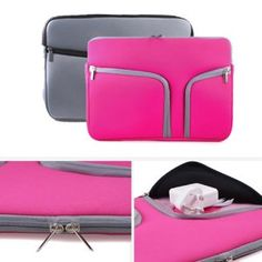 """GMYLE (TM) Hot Pink Neoprene Soft Zipper Perfect Fit Carrying Case Pouch Sleeve Skin Cover Bag with Two Pockets for Apple Macbook Pro Air 13.3"""" 13"""": Amazon.ca: Electronics"""