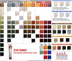 professional hair color swatches | Shade Chart for CHI Ionic Hair Color