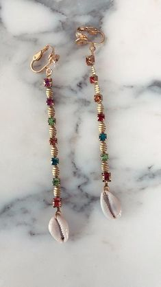 Clip on Rainbow sea shell earrings Seashell Jewelry, Shell Earrings, Sea Shells, Chokers, Fashion Jewelry, Beaded Bracelets, Rainbow, Accessories, Jewellery