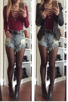Face It Lace-Up Bodysuit- Burgundy, shorts, tights Fall Winter Outfits, Autumn Winter Fashion, Summer Outfits, Casual Outfits, Cute Fashion, Look Fashion, Fashion Outfits, Womens Fashion, Moda Hipster