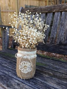 Rustic Burlap Centerpieces / Rustic Table by DaisyDazeDesignRustic Burlap Centerpieces / Rustic Table Centerpieces / Wedding Centerpieces / Rustic Home Decor / Set of Mason Jars / Burlap Flowers / Shabby by DaisyDazeDesignThese jars would be just Mason Jar Projects, Mason Jar Crafts, Bottle Crafts, Pot Mason Diy, Burlap Mason Jars, Burlap Projects, Burlap Crafts, Rustic Table Centerpieces, Table Decorations