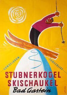 Stubnerkogel Skischaukel. Bad Gastein. by  Fischl, Gottfried   1959 Bad Gastein, Vintage Ski Posters, The Jetsons, Luggage Labels, Retro Illustration, Old Ads, Winter Sports, Skiing, Advertising