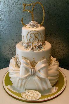 Gold 50th Anniversary cake