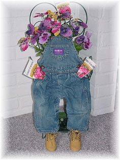 """Make this planter out of infant/toddler overalls and fabric stiffner.  My first """"melted"""" after the first year.  Gonna try using more stiffner and LOTS of laquer."""