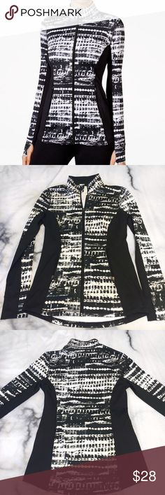 Ideology brand zip up jacket Never worn! Ideology zip up jacket from winter 2015 collection. Full front zipper, two pocket zippers, thumb holes, nice long comfort fit, and awesome black and white pattern. Bought new from Macy's last Dec. for $60 (NWOT) Ideology Jackets & Coats