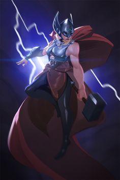 """powersimon: """"Thor, goddess of thunder! Marvel Women, Marvel Girls, Marvel Comics Art, Marvel Avengers, Female Thor, Female Art, Serie Marvel, Seven Knight, Lady Sif"""