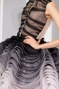 Dior--pleats and gradient create depth--could somehow twist?--galaxy?