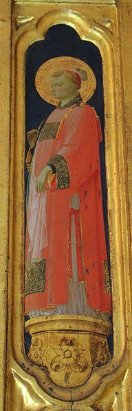 File:Beato angelico, pala strozzi della deposizione, con cuspidi e predella di lorenzo monaco, pilastrino dx : Santo Stefano