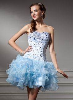 [US$ 139.99] A-Line/Princess Sweetheart Short/Mini Organza Homecoming Dress With Beading Cascading Ruffles