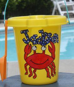 Fun personalized beach bucket