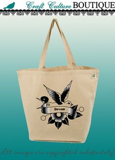 Canvas Tote Bag-Large Carry All Recycled Organic Tote- Bird Banner (Dream)-Sparrow-Tattoo Image. $15.00, via Etsy.