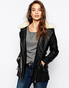 Vero Moda Longline Biker With Faux Fur Collar - Black on shopstyle.com