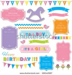 Birthday party and baby shower design elements set. - stock vector