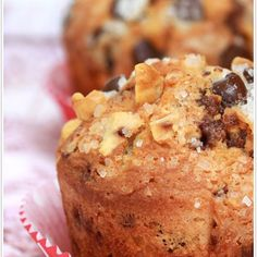 Hazelnut Chocolate Chip Muffins Recipe Breads with all-purpose flour, hazelnut meal, baking powder, salt, chocolate chips, sugar, unsalted butter, eggs, vanilla, milk, sparkling sugar, chopped hazelnuts