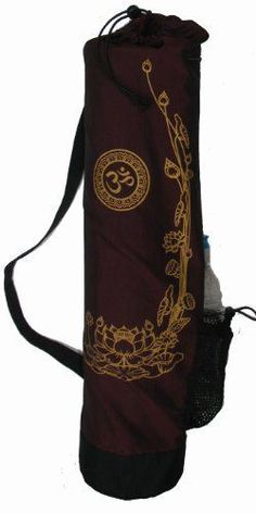 """Yoga Mat Bag """"Om and Golden Lotus"""" Burgundy -- Want additional info? Click on the image."""