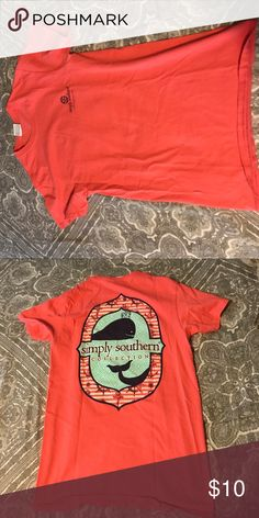 simply southern t shirt salmon colored. only worn a couple times. boxy t shirt Simply Southern Tops Tees - Short Sleeve