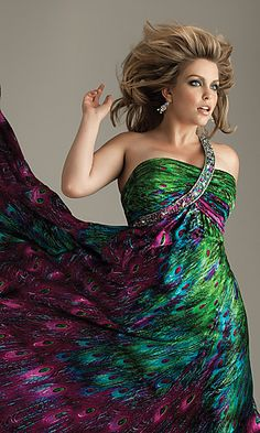 Night Moves Plus Size Peacock Dress One Shoulder at SimplyDresses.com