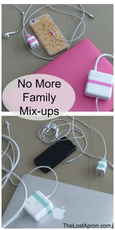 Home Organization: Color Coordinate Cords. When you have multiple family members with multiple devices, sometimes cords can get mixed up. You can label the cords with different washi tapes for each family member. - The Lost Apron