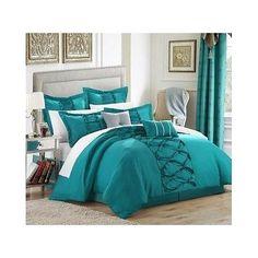 8 Pcs Ruth Ruffled Comforter Set Queen Size Turquoise Bedroom Bedding New Ocean