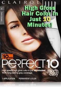 Clairol Perfect 10 delivers luxurious color with a high gloss result in just 10 minutes.  For more information visit: http://www.totalbeautystore.net/product/clairol-perfect-10-by-nice-n-easy-hair-color-004-dark-brown-1-kit-pack-of-2/