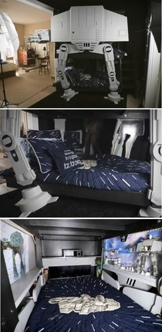 Star Wars Bunk Bed. Jonathan had some issues thanks to space restrictions in a new home. As a solution, he came up with the idea for the most amazing triple bunk bed ever, Imperial Walker style.