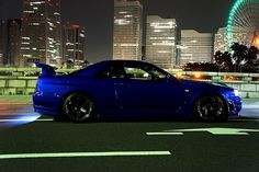 Blue Nissan Skyline GT-R R34, What a Fantastic Car this was....