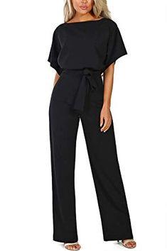 9ea0d0f57ec Alelly Women's Summer Short Sleeves Elegant Playsuit Wide Leg Jumpsuit  Romper with Belted Black #womensclothes