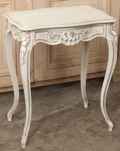 french country square end tables curved legs | Antique French Louis XV Walnut Painted End Table - Inessa Stewart's ...