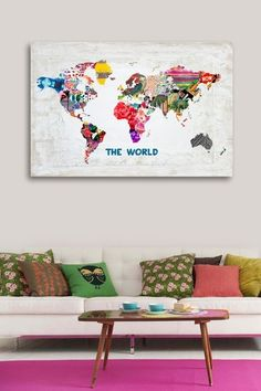 Oliver Gal Hipster Mapa Mundi Canvas Art by Oliver Gal Gallery on @HauteLook